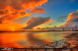 Miami Skyline Sunset Miami skyline biscayne bay 1311