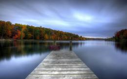 nature landscapes lakes water reflection dock pier shore hdr trees 1201
