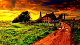 Old Farm After Storm Hdr Road House Stone hd wallpaper #1357614 1051