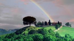 Download Rainbow Over A Tuscan Farm wallpaper in CityWorld 1918