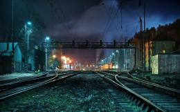 Night Lights Trains Railroad Tracks HD Background WallpaperHD 1305