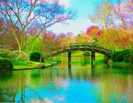 Painting Of Bridge Over Lake In Spring picture 1277