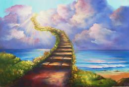 Stairway To Heaven Ocean Landscape Painting HD Christian Wallpaper jpg 1194