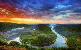 Wallpaper Saarschleife, Saar, river, Mettlach, Germany, clouds, sunset 1374