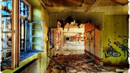 Download Decayed Hallway In An abandoned Post Office Hdr wallpaper in 1824