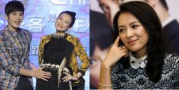 Xuedong, left, touches the tummy of actress and co producer Zhang Ziyi 841