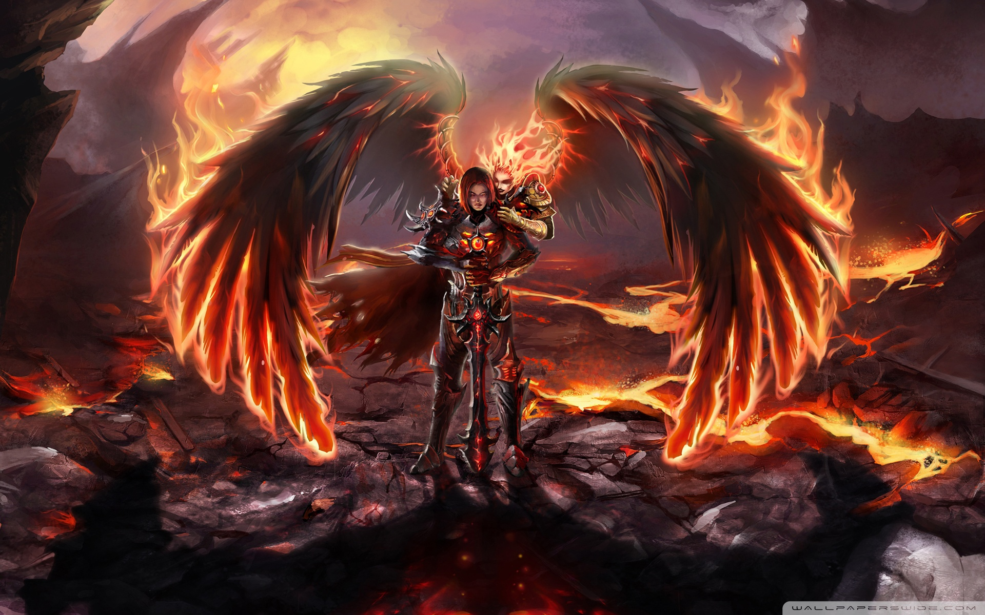 Fantasy Angel Warrior Action Adventure Cg Dark Devil Enemy Evil 749027 1950