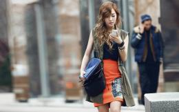 Download Modern asian girl walking on street wallpaper in People 1759