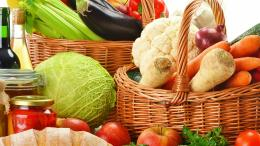 1920x1080 Wallpaper baskets, vegetables, fruit, bread, tomatoes 495