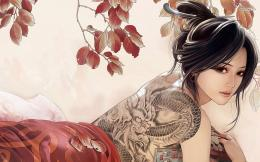 Beautiful Tattoo Girls Art Anime Wallpaper | Best HD Wallpapers 1807