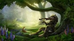 New Art Funny Wallpapers Jokes: Fantasy Violin Playing Wolf Wallpapers 1297