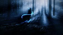 wolf wolves fantasy forest bokeh trees night mood wallpaper background 1549