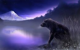 fantasy art wolf wolves landscapes nature lakes art wallpaper 685