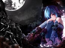 Dark, angel, Anime girl, beautiful, beauty, blue, blue hair, chains 1783