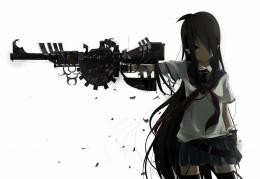 eyes gloves gun long hair original seifuku thighhighs weapon white 922