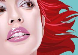 Vector art of a girl with red hair looking to the sideShe has light 1251