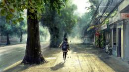 in town carrying school bagArt WallpapersHi Wallpapers com 1689