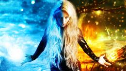 Girl Of Fire And Ice, 3d art, blonde, blue, fire, girl, ice, orange 1007