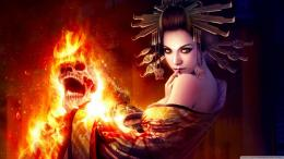 Women witch skulls fire fantasy art wallpaper | 1600x900 | 191618 606