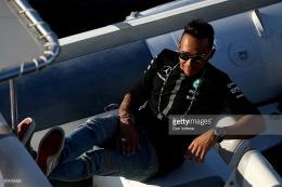 Lewis Hamilton of Great Britain and Mercedes GP leaves the paddock on 295