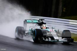 and Mercedes GP drives during practice for the Formula One Grand 1058