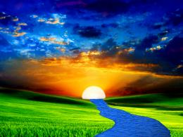 Nature sun river Background Wallpaper for PowerPoint Presentations 1445