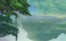 Trees, anime, makoto shinkai, 新海誠, rain, lake, kotonoha no niwa 1112