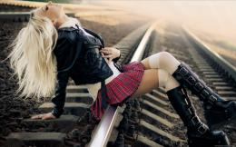 Girl In Short Skirt Sitting On Train Tracks Hd Wallpaper | Wallpaper 1042