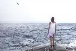 mood women girls sad sorrow loneliness oceans waves wallpaper 555