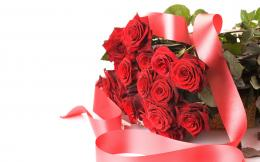 International Womens Day Bouquet of red roses with ribbon on March 8 1202