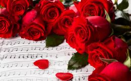 Red roses on March 8 on the background sheet music wallpapers and 1675