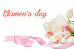 Wallpaper: [Women's Day] with white roses and pink ribbon 832