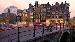 Download Wallpaper canal, sunrise, amsterdam, netherlands HD 1663