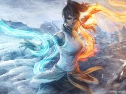 avatar blue eyes brown hair fire korra legend of korra ponytail signed 726