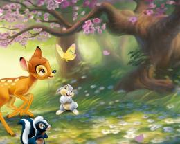 wallpaper: Bambi, cartoon, cute, deer, butterfly, flowers, cartoon 1605