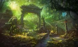temple trees forest jungle landscapes decay ruins wallpaper background 997