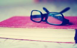 Glasses on Book Widescreen HD Wallpaper 894