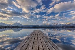 Wallpaper pier, lake, dock, mirror, reflection, clouds, mountains, sky 216