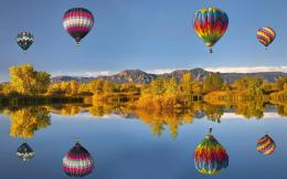 Wallpaper Hot air balloon, reflection, lake, mountains, autumn desktop 952