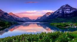 Mountain Lake Hills Beautiful Reflection Sky Village Clouds Wallpaper 236