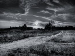 the south pole to the moon, black and white country road wallpaper 1217