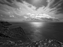 Black and white wallpaper of a view from the cliffs at Pennard over 1512