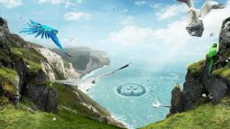 Fantasy Cliff Edge With Birds Desktop Wallpaper | WallpaperCow com 925