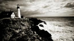 Black And White Lighthouse On The Cliff Picture For iPhone, Blackberry 313