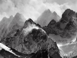 Mountains Snow Clouds Black And WhiteHD Wallpaper #13989 1924
