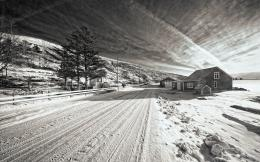 Road House BW Trees black white roads architecture houses sky clouds 1640