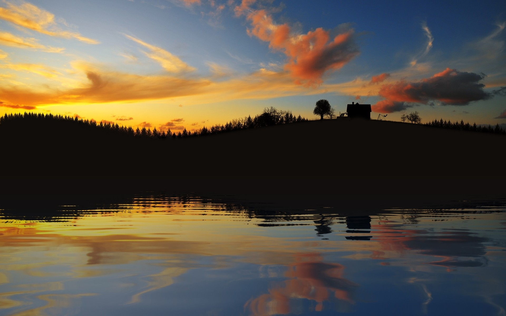 Wallpaper evening, outlines, lake, coast, trees, house, sky, clouds 651