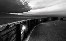 Black And White Clouds On Seacoast Road Hd Wallpaper | Wallpaper List 371