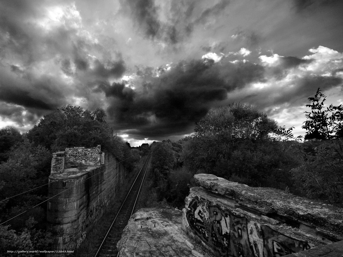 wallpaper iron, road, graffiti, black and white free desktop wallpaper 1528