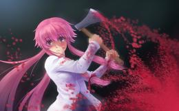 Anime Girl Killing Blood Stain Axe Pink Hair Red Eye HD Wallpaper 198